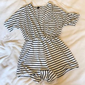 Black striped V Neck Romper
